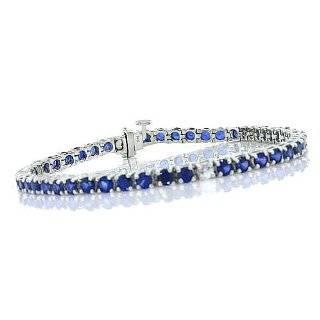 10k White Gold Emerald Cut Created Sapphire Bracelet, 7 Jewelry