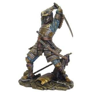 Japanese Samurai Warrior in Battle Statue Figurine