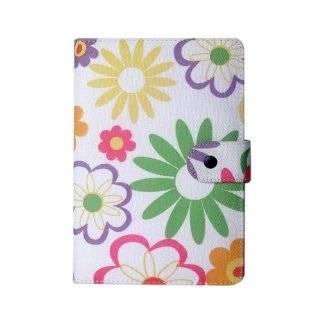 Yellow Multi Rainbow Flower Design Fabric Padfolio Cover Case for