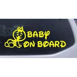 Baby On Board (Girl) Car Window Wall Laptop Decal Sticker    Yellow 14
