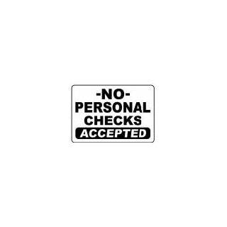 SORRY NO CHECKS ACCEPTED 10x14 Heavy Duty Plastic Sign