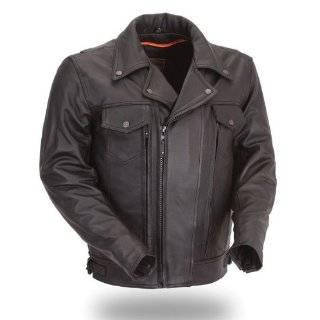 Mossi Police Black Size 44 Mens Premium Leather Jacket