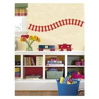 Curved Train Track Wall Decals Stickers Childrens Room Art, Fire Red
