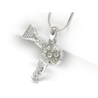 White Gold Plated Crystal Studded Hair Dryer Pendant Necklace