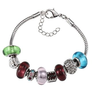 La Preciosa Silvertone Multi colored Glass Charm Bracelet
