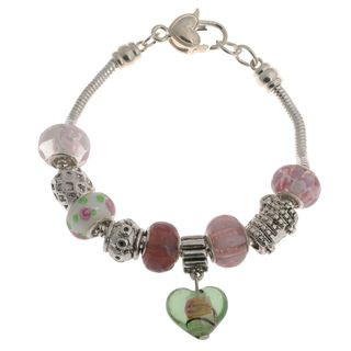 La Preciosa Silver Overlay Multi colored Glass Bead Heart Charm