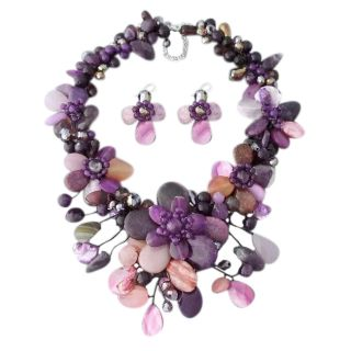 Purple and Black Floral 925 Jewelry Set (Thailand) Today: $92.99 Sale