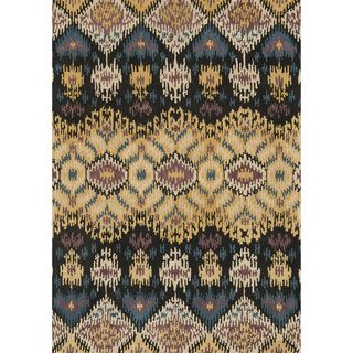 Hand tufted Arianna Black/ Light Gold Wool Rug (710 x 110