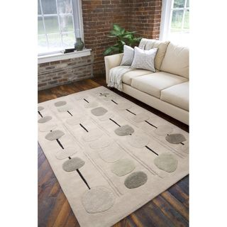 Hand tufted Contemporary Beige Circles Bynar New Zealand Wool Abstract
