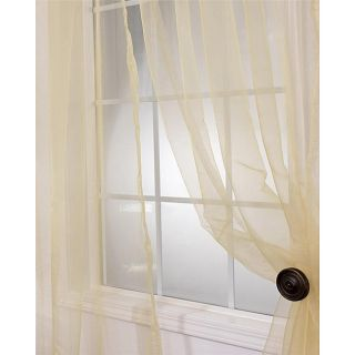 Soft Gold Faux Organza 120  inch Sheer Curtain Panel Pair Today: $49