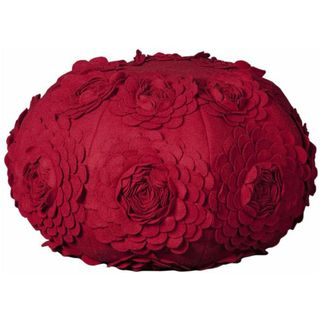 Mina Victory Poufs Floral Red 19 x 19 inch Round Decorative Pillow by
