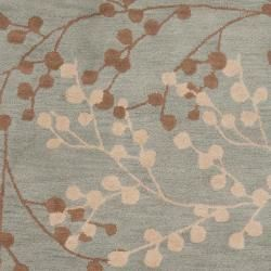 Hand tufted Blossom Blue Wool Rug (36 x 56)