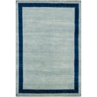 Hand knotted Geometric Blue New Zealand Wool Rug (56 x 8
