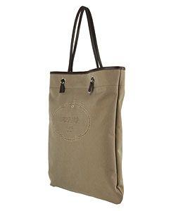 Prada Large Brown Logo Jacquard Flat Tote
