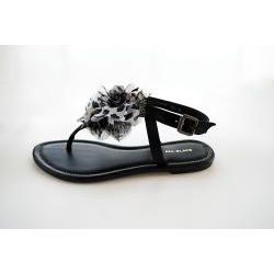 All Black Womens Pouf Sandal