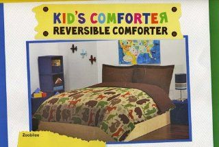 Twin Reversible Comforter Kids Safari Animal Bedding: Home & Kitchen