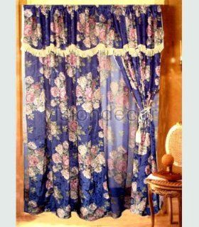 Luxury Purple Blue Floral Curtain Set w/ Valance Lace