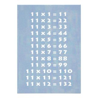 11 Times Table Collectible Card Personalized Invitation