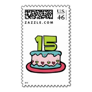 15 Year Old Birthday Cake Stamps
