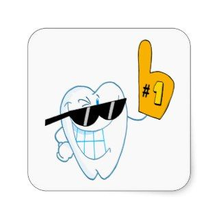 Smiling Tooth Cartoon Character Number One Square Stickers