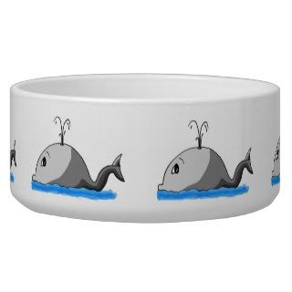 Cute Cartoon Whale and Spout Dog Food Bowl