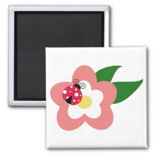 Ladybug on a flower clipart fridge magnet