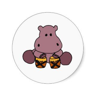 AH  Awesome Hippo Playing Bongo Drums Round Sticker