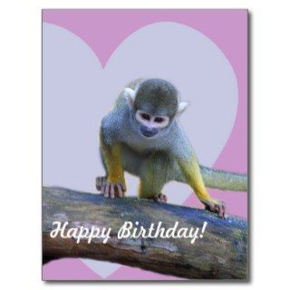 Happy Birthday cute monkey kids postcard