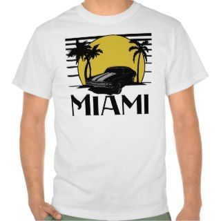 Miami Beach Sunset Surf Car T shirt