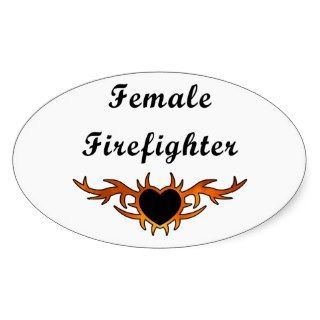 Female Firefighter Tattoo Oval Sticker