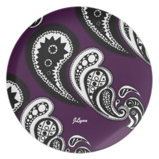 Paisley Pattern Purple Plate by Jessica Lynn