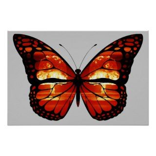 Atomic Mushroom Cloud Butterfly Print Poster