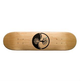Yin Yang Tree Of Life Black & White Skate Board Decks