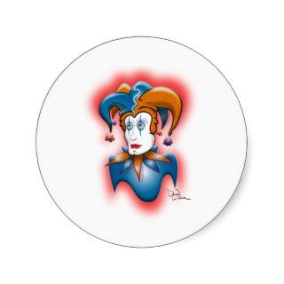 Cosmic Court Jester Round Stickers