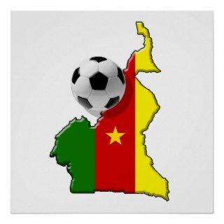 Map of the Cameroon Cameroun soccer ball gifts Print
