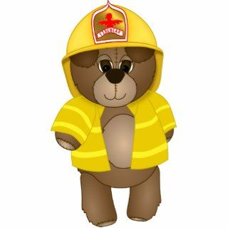 Cute Firefighter Kids Teddy Bear Cartoon Mascot Cut Out