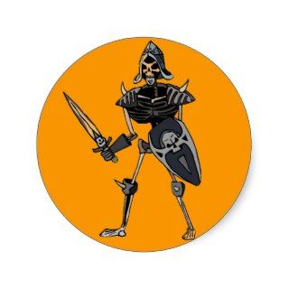 Skeleton Soldier Round Stickers