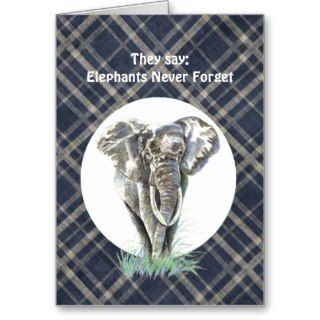 Fun Belated Birthday Elephants Never Forget Card