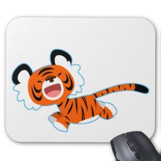Cute Cartoon Tiger On The Run Mousepad