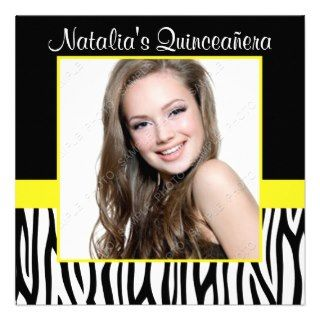 Zebra Yellow Photo Quinceanera Invitations