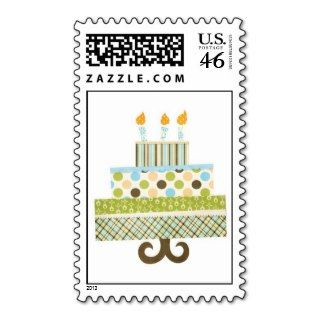 Funky Patterns Birthday Cake Boy Stamps