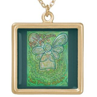 Green Cancer Angel Art Poem Charm Jewelry Necklace