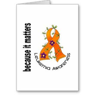 Leukemia Flower Ribbon 3 Greeting Cards