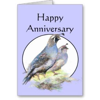 Happy Anniversary Cute California Quail Birds Greeting Card