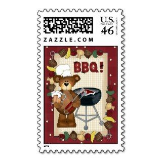 BBQ Hillbilly Bear cartoon stamp