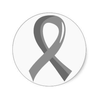Brain Cancer Grey Ribbon 3 Round Sticker