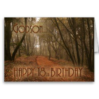 Godson Happy 18th Birthday Path in the Woods Cards
