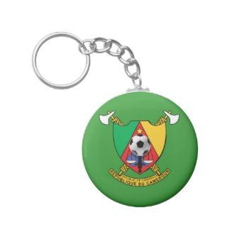 Cameroon soccer ball emblem coat of arms keychains