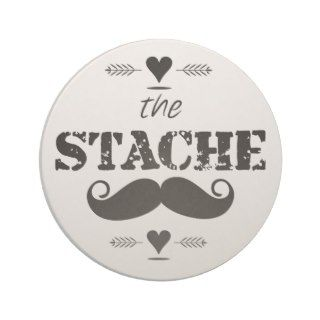The Stache Mustache Retro Hipster Beverage Coaster