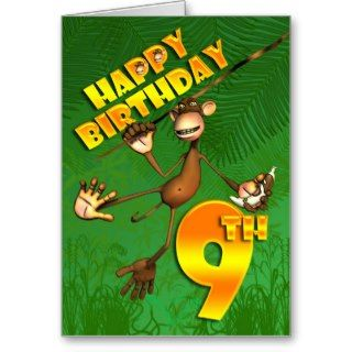 Happy 9th Birthday Monkey Banana Greeting Card